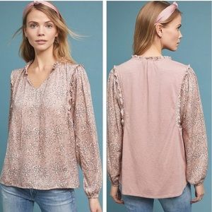 Anthropologie Dolan Pink Leopard Print Ruffle Top